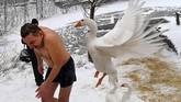 Seekor angsa menyerang seorang kristen ortodoks ketika meninggalkan danau air es usai merayakan hari Epifani Ortodoks di Kiev, Ukraina. (AFP/ Sergei SUPINSKY)