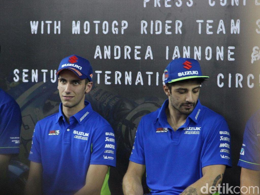 Andrea Iannone dan Alex Rins. Tahun lalu kiprah dua rider Suzuki Ecstar itu masih di bawah ekspektasi. Tapi jika kondisi berpihak, Iannone dan Rins punya potensi untuk ikut serta dalam perburuan podium. (Foto: Khairul Imam Ghozali/detikSport)