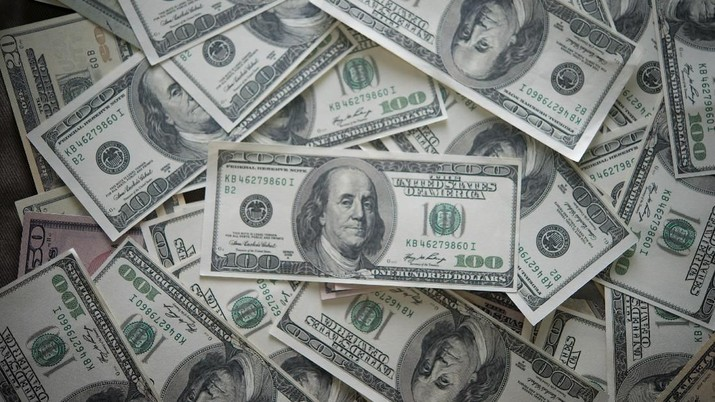 Many bundles of US dollars bank notes