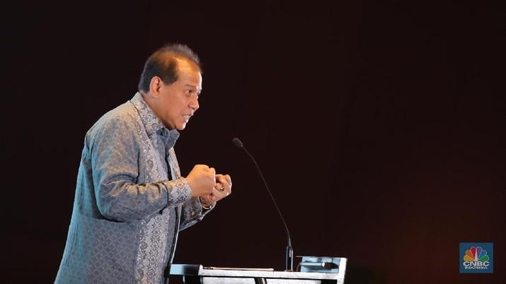 Chaiman & Founder CT Corp, Chairul Tanjung  mengahadiri soft launching CNBC Indonesia di Hotel Raffles, Jakarta, Kamis (8/2/2018). (CNBC Indonesia/ Muhammad Sabki)
