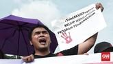 Aliansi Masyarakat Sipil pun menilai RKUHP dinilai mengancam pembangunan pemerintah dalam bidang kesehatan, pendidikan, ketahanan keluarga, dan kesejahteraan masyarakat. (CNN Indonesia/Andry Novelino)