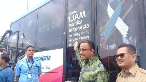 Resmikan Bus TransJakarta Cegah Kanker Serviks, Anies: Ayo Deteksi Dini
