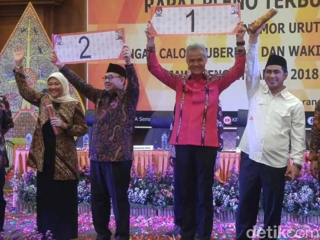 Pasangan calon Ganjar Pranowo-Taj Yasin mendapatkan nomor urut 1 dan Sudirman Said-Ida Fauziah dapatkan nomor urut 2.