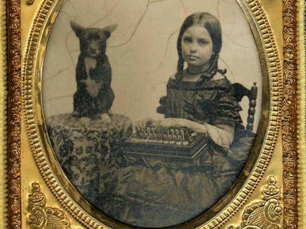 Gadis kecil ini difoto pada tahun 1860 dengan anjingnya, apa yang dipegang oleh gadis ini? Jawaban netizen adalah Flutina Accordion yang merupakan sebuah alat musik. (Foto: Boredpanda)