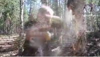 Serpihan kayu pun bertebaran di mana-mana. Netizen banyak yang merasa tercengang dengan kemampuan gadis itu yang ternyata memang suka berlatih di hutan itu. (Foto: Instagram/saadvakass)