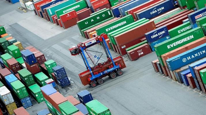 FILE PHOTO: A van carrier transports a container at the container terminal