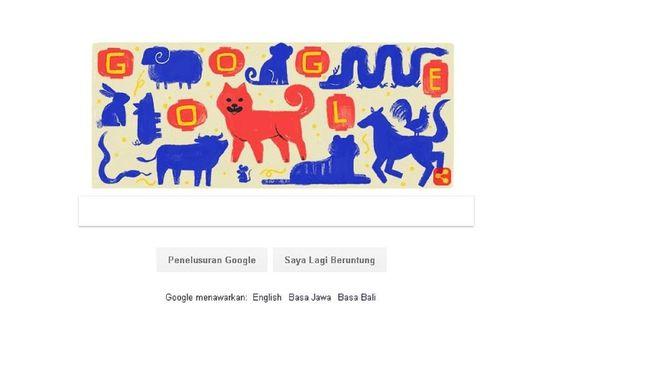 Rayakan Imlek, Google Tampilkan Doodle Anjing Tanah & Lampion