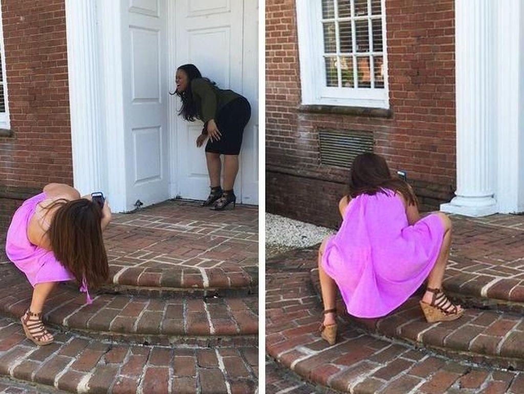 Untung si teman yang memotret tahan jongkok berlama-lama. Foto: via Brightside