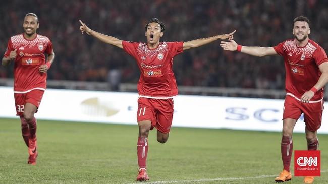Novri Setiawan menjadi pencetak gol terakhir Persija ke gawang Bali United. Skor 3-0 pada menit ke-62 seakan 'menyudahi' pertandingan final.(CNNIndonesia/Adhi Wicaksono)