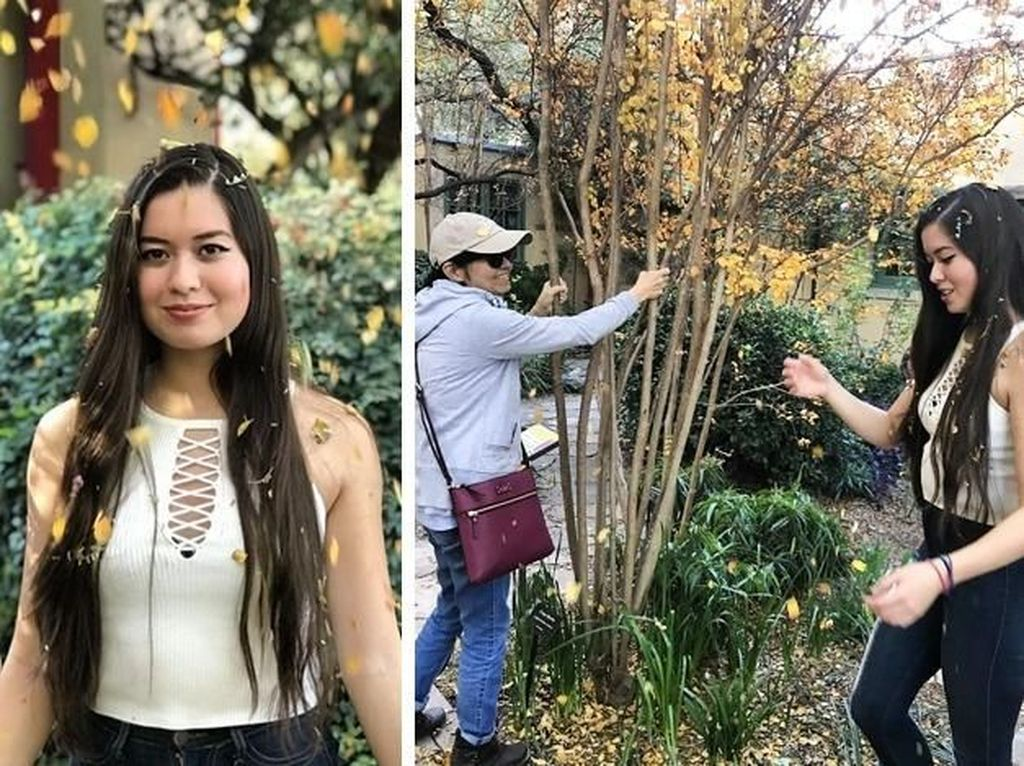 Seorang teman bertugas menggoyangkan pohon agar daun-daunnya berjatuhan mengenai si model. Foto: via Brightside