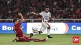 Bali United kesulitan mengembangkan permainan. Yabes Roni Malaifani dan kawan-kawan tidak leluasa menciptakanpeluang emas untuk memperkecil ketertinggalan. (CNNIndonesia/Adhi Wicaksono)