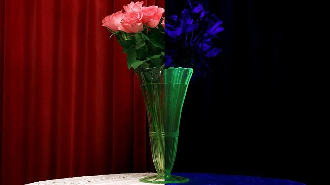 Kanan: vas kaca uranium yang berpendar dalam cahaya ultraviolet. Kiri: dalam cahaya normal. Uranium bukan hanya bahan untuk nuklir, tapi sebelum 1960 bahan kimia itu digunakan sebagai warna kuning dan hitam glasir keramik juga kaca. (REUTERS/Stefan Wermuth)