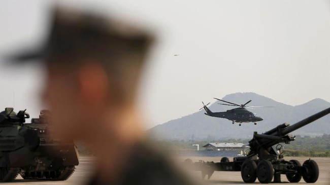 Latihan militer yang melibatkan pasukan Amerika Serikat terbesar dalam beberapa tahun terakhir digelar di Thailand, belum lama ini. (REUTERS/Soe Zeya Tun)