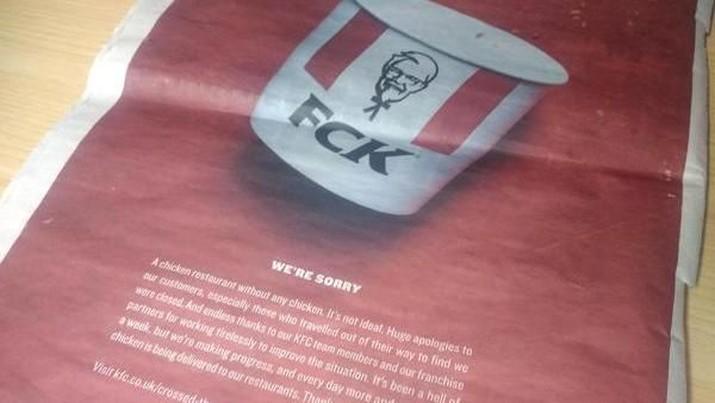 Restoran cepat saja memasang iklan satu halaman penuh di 2 koran besar di Inggris untuk meminta maaf, tapi mereka ubah nama menjadi FCK