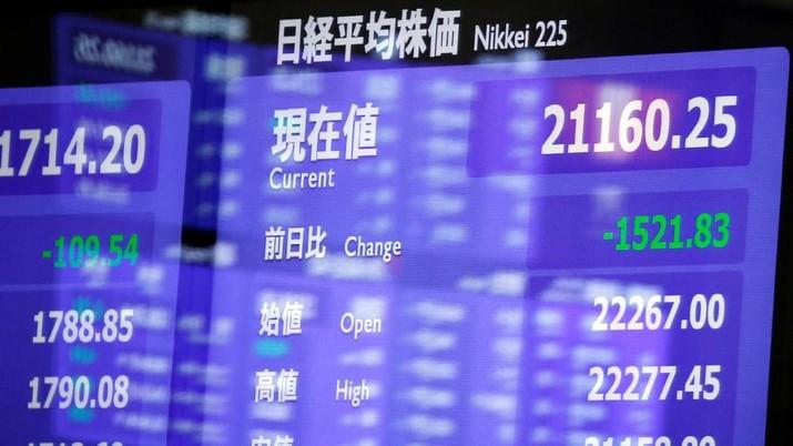 Nikkei 225 menutup paruh pertama perdagangan dengan koreksi 0,9% ke 21.483,22.