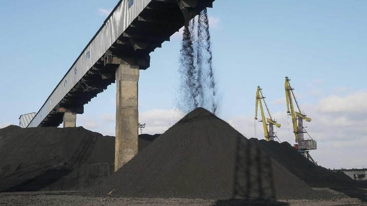 Coal piles are seen at a warehouse of the Trypillian thermal power plant, owned by Ukrainian state-run energy company Centrenergo, in Kiev region, Ukraine November 23, 2017. Picture taken November 23, 2017. REUTERS/Valentyn Ogirenko