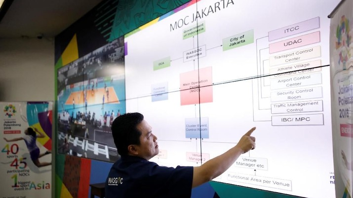 Erick Thohir, President of the Indonesia Asian Games Organising Committee (INASGOC), shows the Game's command centre during an interview with Reuters in Jakarta, Indonesia March 7, 2018. Picture taken March 7, 2018. REUTERS/Darren Whiteside
