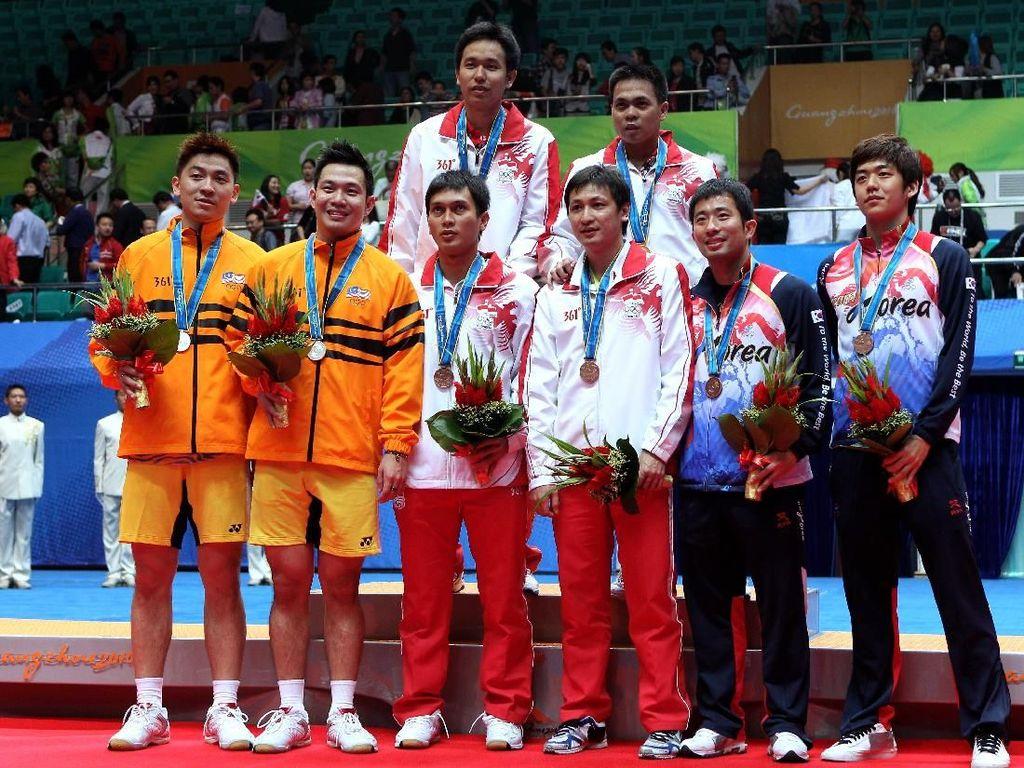 Olimpiade 2012 menjadi olimpiade kedua Jung Jae Sung dan Lee Yong Dae. Sebelumnya mereka tampil di Olimpiade 2008 dan tersingkir di babak pertama.(Mark Dadswell/Getty Images)