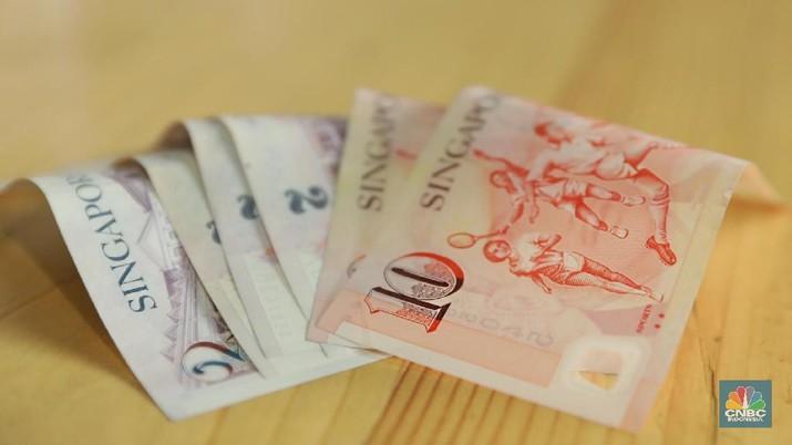 Penguatan rupiah terhadap mata uang Negeri Singa masih relatif terbatas.