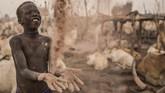 Meski demikian, para gembala yang terdampar di pinggir Sungai Nil bersyukur karena masih bisa hidup. Kekeringan pun masih bisa menjadi keuntungan karena pasir yang hangat dapat melindungi mereka ketika malam menjelang. (AFP Photo/Stefanie Glinski)