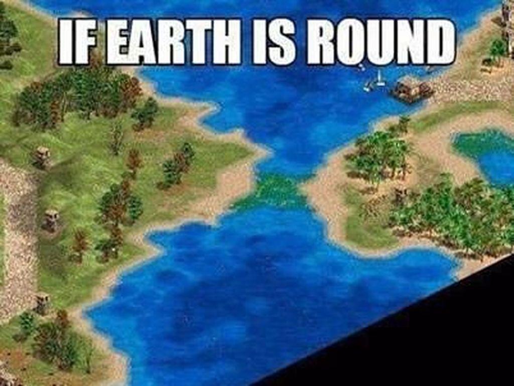 Di game Age of Empire juga Bumi berbentuk datar. (Foto: Instagram)