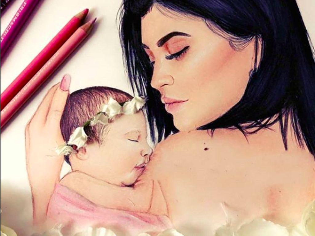 9 bulan menyembunyikan kehamilan, Kylie Jenner menjadi perhatian setelah melahirkan Stormi. Penggemar membuat sejumlah karya untuk keduanya. Foto: Instagram Stormiwebsterfan