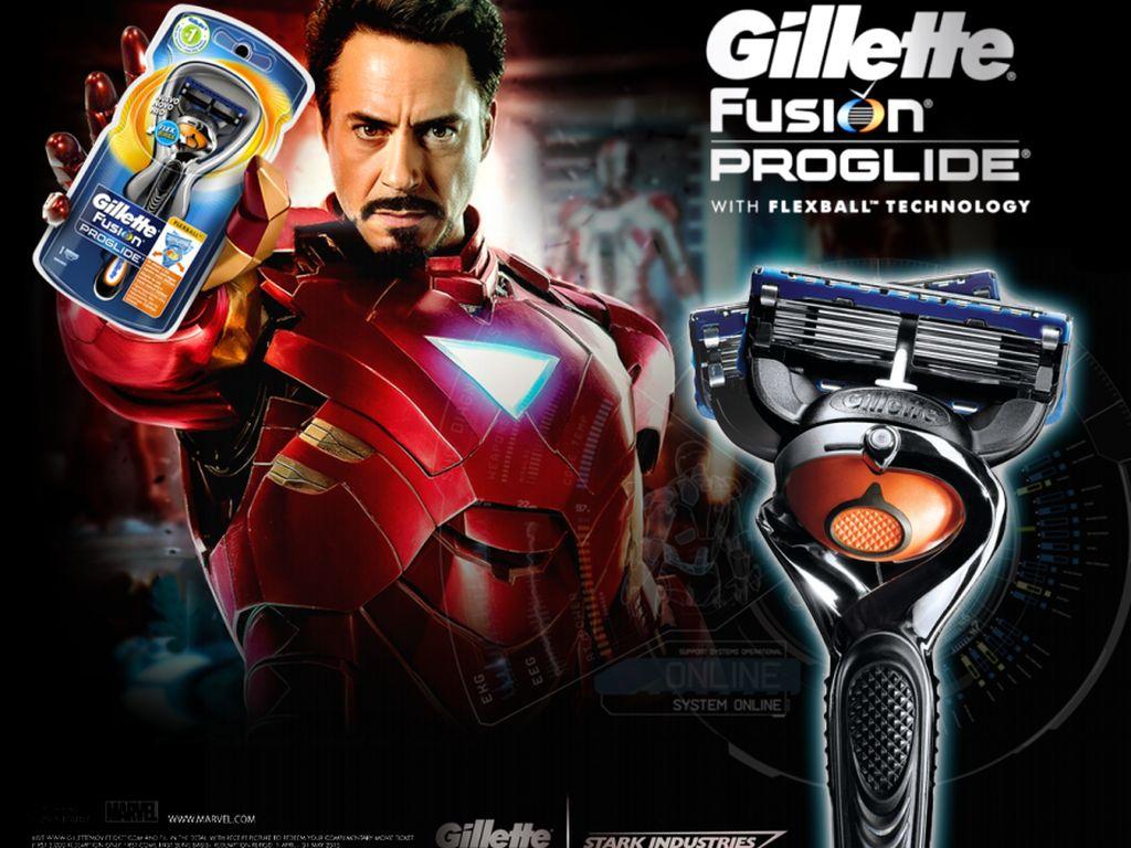 Karakter Iron Man jadi model brand pencukur kumis Gillette. (Foto: boredpanda)