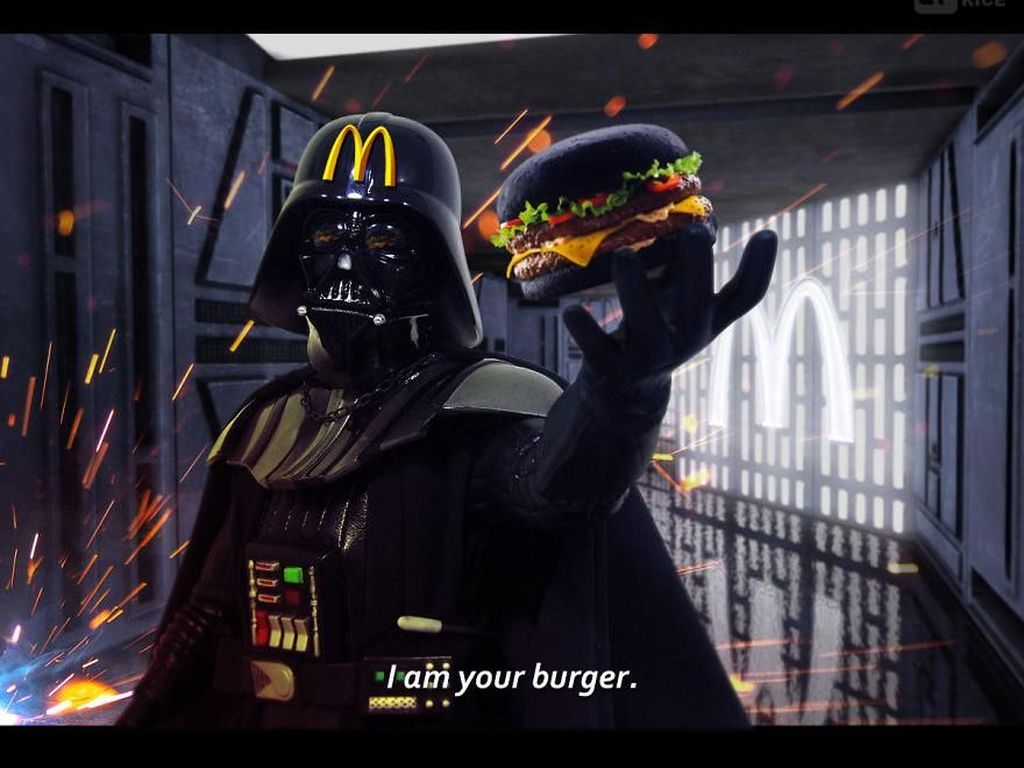Darth Vader jadi model iklan makanan burger McDonald. (Foto: boredpanda)