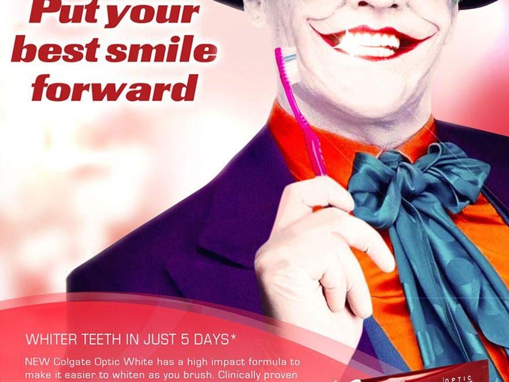 Joker dengan senyum lebarnya menjadi model iklan sikat gigi. (Foto: boredpanda)
