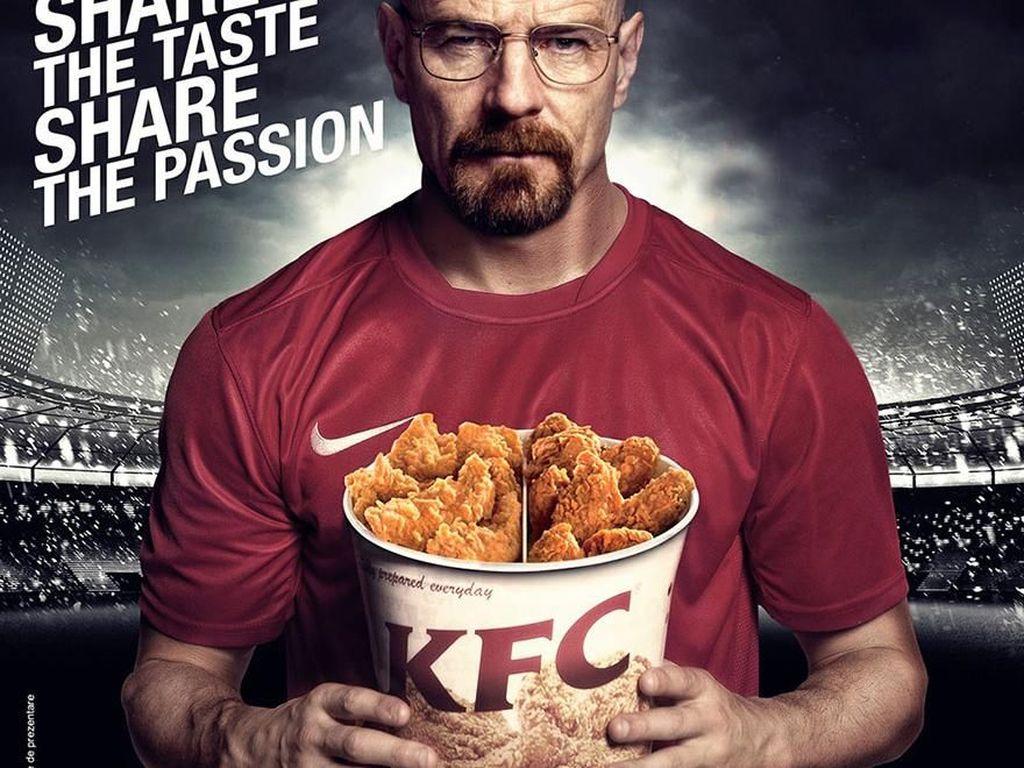 Pemeran Walter White di film Breaking Bad jadi bintang iklan makanan KFC. (Foto: boredpanda)