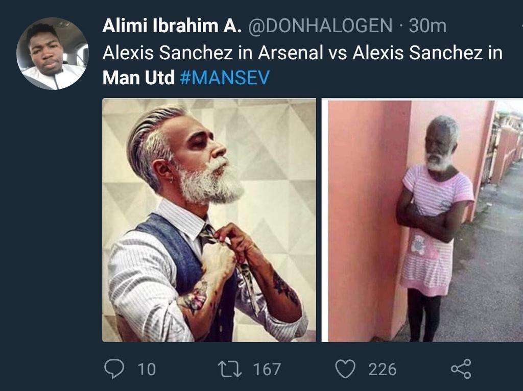 Padahal Alexis Sanchez bisa menjadi pemain vital Arsenal dalam beberapa musim sebelumnya. Dari garang jadi culun gini sih, Sanchez! (Foto: Twitter @DONHALOGEN)