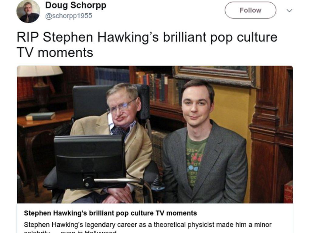 Kenangan netizen saat Hawking menjadi bintang tamutelevisi. (Foto: Twitter)
