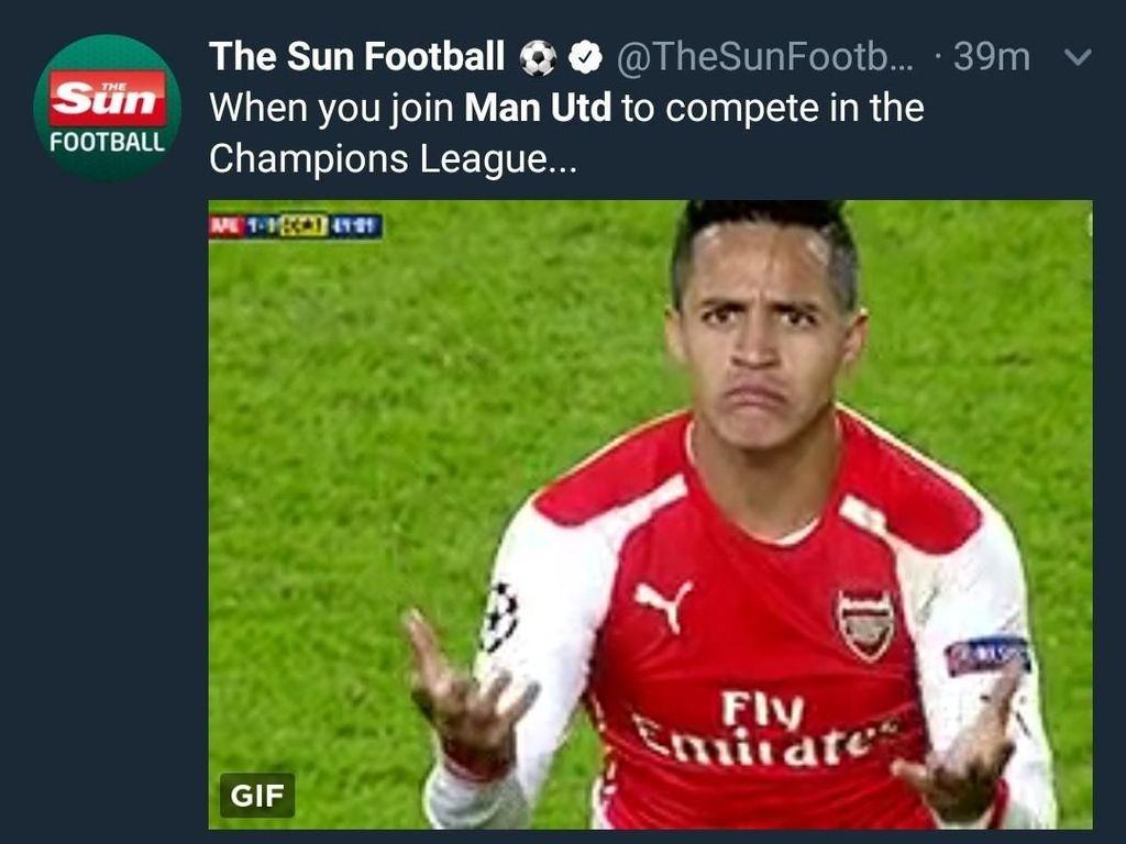 Ya, Alexis Sanchez menjadi bulan-bulanan usai didatangkan mahal-mahal oleh MU dari Arsenal namun belum banyak berkontibusi bagi tim. (Foto: Twitter @TheSunFootball)