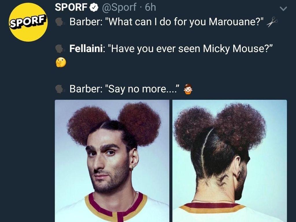 Mungkin begini percakapan antara Fellaini dengan tukang cukurnya saat merekomendasikan gaya rambutnya. (Foto: Twitter @Sporf)