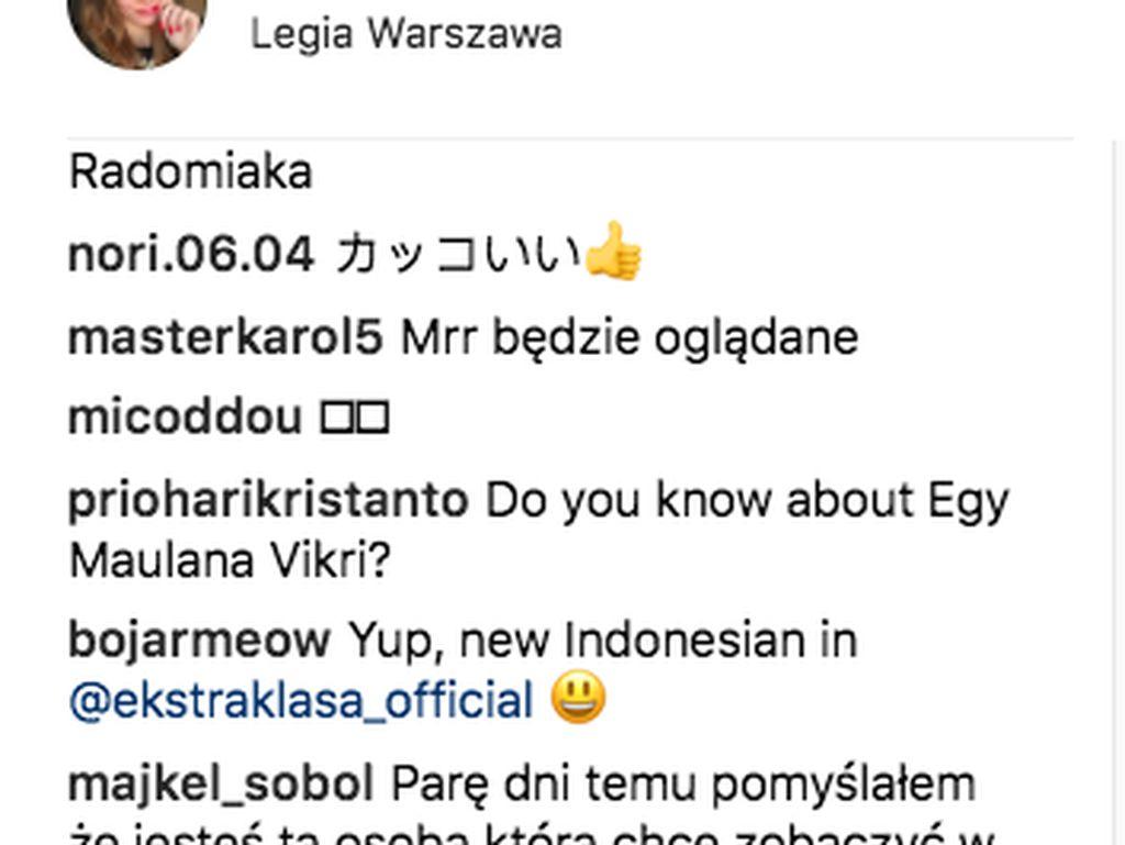 Seorang netizen Indonesia iseng bertanya apakah Bojar tahu soal Egy Maulana Vikri. Yang ternyata ia jawab Yup, orang Indonesia baru di Liga Polandia sebutnya. Foto: Instagram