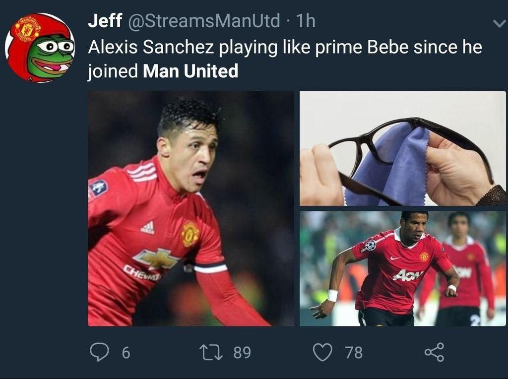 Penampilan buruk Alexis Sanchez bahkan disamakan dengan Bebe, eks pemain MU yang gagal total beberapa tahun silam. (Foto: Twitter @StreamsManUtd)