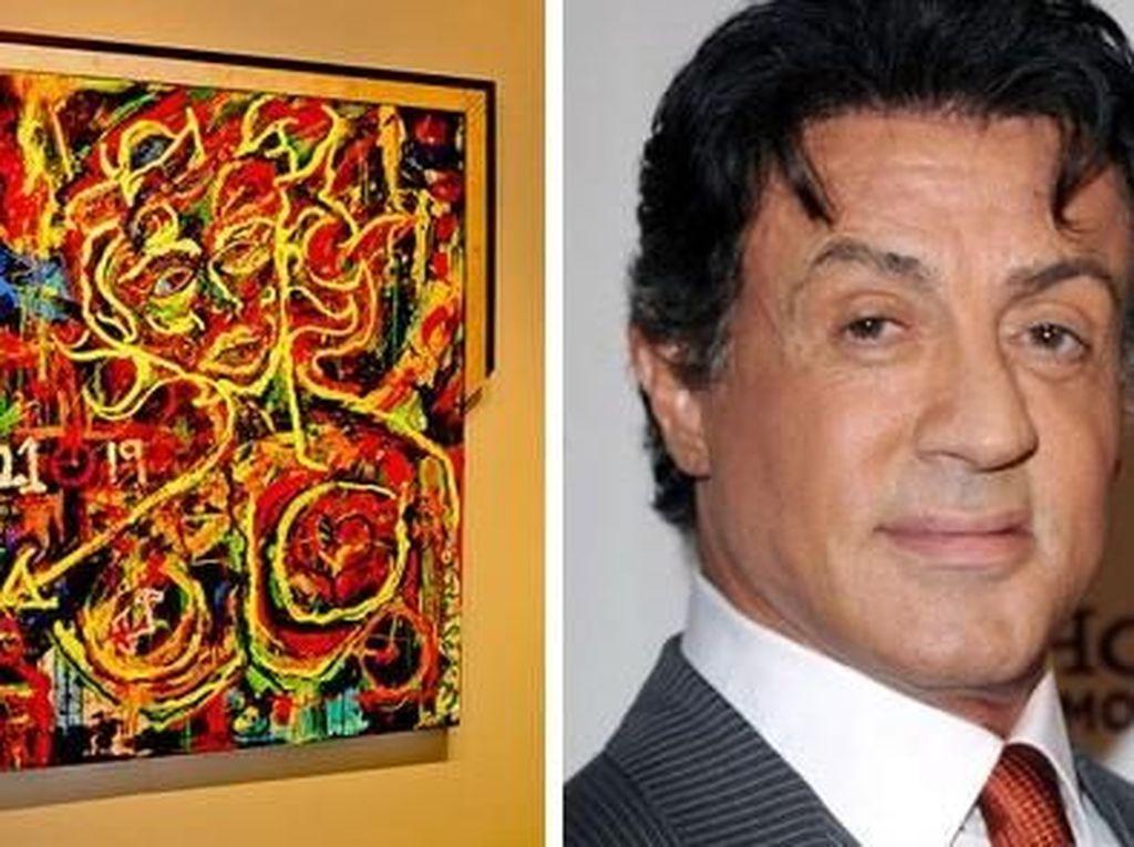 Sylvester Stallone mungkin jadi ikon film perang. Namun siapa sangka ternyata ia juga punya bakat di bidang seni lukis dengan karya yang penuh warna dan abstrak. (Dok. Ist)