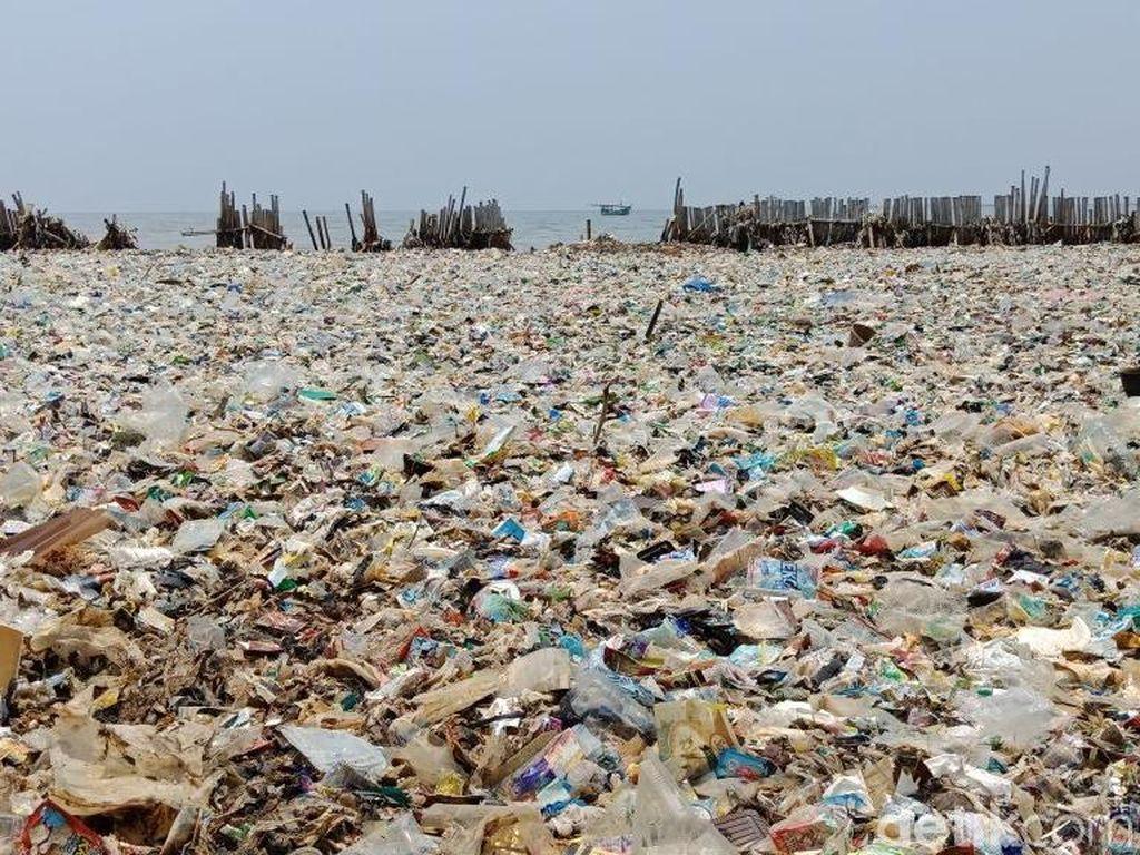 Lautan sampah di Teluk Jakarta menjadi sorotan. Foto di atas dipotret pada Jumat, 16 Maret 2018 (Foto: Eva Safitri/detikcom)