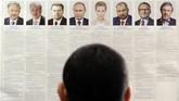 Di antara tujuh kandidat, Presiden petahana Vladimir Putin menjadi yang terkuat. Berdasarkan survey-survey sebelumnya tingkat keterpilihan Putin sekitar 70 persen. (REUTERS/Sergey Pivovarov)