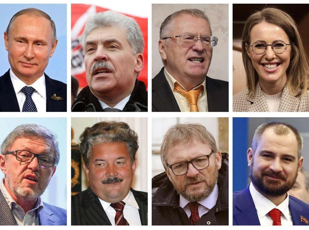 Selain Vladimir Putin yang merupakan petahana, para capres Rusia yakni jutawan Pavel Grudinin (57) dari Partai Komunis Federasi Rusia, Vladimir Zhirinovsky (71) dari Partai Liberal Demokratik Rusia (LDPR) yang sudah 6 kali menjadi capres, pakar ekonomi liberal Grigory Yavlinsky (65) dari Yabloko atau Partai Demokratik Bersatu Rusia, pakar hukum Sergey Baburin (59) dari Partai Russian All-Peoples Union (ROS), pengusaha Boris Titov (57) dari Party of Growth yang baru kali ini mencalonkan diri dalam pilpres, insinyur Maxim Suraykin (39) dari Partai Communists of Russia, dan sosialita yang juga presenter televisi Ksenia Sobchak (36) dari Partai Civic Initiative. Foto: Reuters