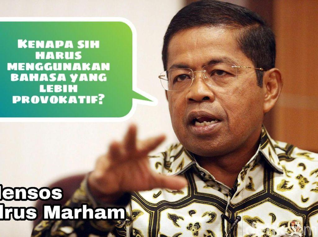 Menteri Sosial Idrus Marham meminta tokoh nasional menghindari bahasa yang provokatif