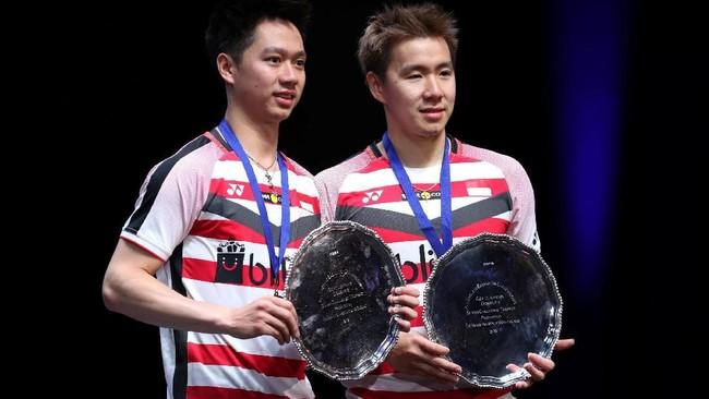 Kevin/Marcus meraih tiga gelar pada tahun 2018. Sebelum meraih gelar All England, pada tahun ini Kevin/Marcus meraih gelar India Terbuka dan Indonesia Masters. (Reuters/Peter Cziborra)