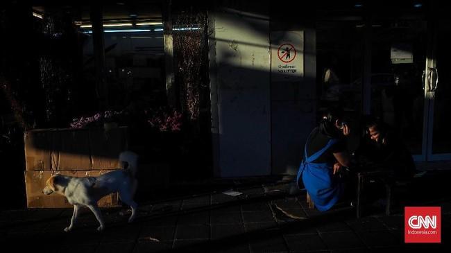 Sore hari pada pukul 5 merupakan golden hours, cahaya matahari menerobos obyek maupun subjek yang ada di kawasan Pasar Bunga Pak Klong. Carilah obyek yang kuat untuk memperkuat isi foto.