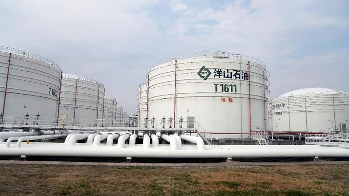 FILE PHOTO: Oil tanks are seen at an oil warehouse at Yangshan port in Shanghai, China March 14, 2018. REUTERS/Aly Song/File Photo