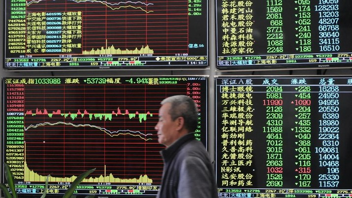 A man is seen against an electronic board showing stock information at a brokerage house in Jiujiang, Jiangxi province, China March 23, 2018. China Daily via REUTERS   ATTENTION EDITORS - THIS IMAGE WAS PROVIDED BY A THIRD PARTY. CHINA OUT.