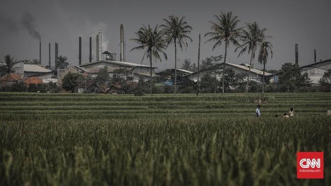 Selain limbah cair yang jelas terlihat, warga juga mengeluhkan kerap kali sesak nafas yang diduga akibat polusi udara dari asap pabrik. (CNNIndonesia/Adhi Wicaksono).