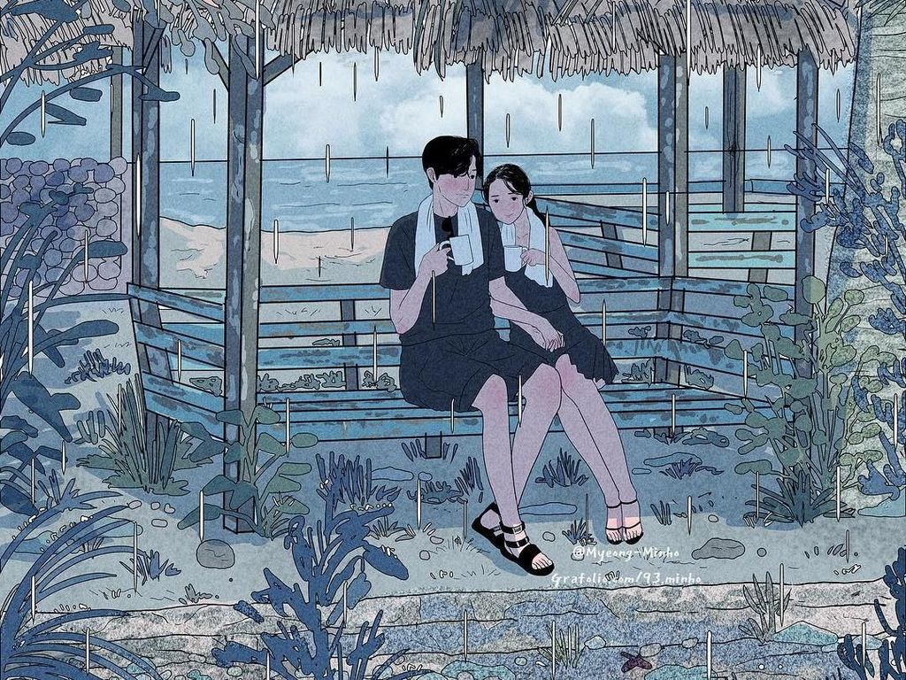 Bikin Baper! Ilustrasi Romantis Momen Manis yang Dilakukan Bareng Pasangan