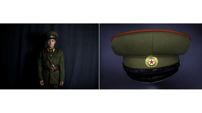 Jeong Min-woo, 29 tahun dan topinya. Dia berasal dari Hyesan, dekat perbatasan China. Seorang tentara, dia membelot dengan seragamnya pada November 2003. Agen intelijen Korsel menyitanya, tetapi dia berhasil membujuk rekannya untuk mengirim seragam yang baru. (REUTERS/Kim Hong-ji)