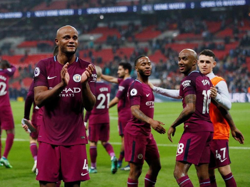 Manchester City baru dinobatkan sebagai juara Premier League musim ini pada pekan ke-33. Sepanjang musim ini The Citizens baru kebobolan 25 kali di liga. (Foto: David Klein/Reuters)