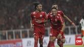 Rohit Chand akhirnya mampu menggandakan keunggulan Persija Jakarta lewat gol sundulan kepala memanfaatkan sepak pojok Riko Simanjuntak di menit ke-63. (CNN Indonesia/Adhi Wicaksono)